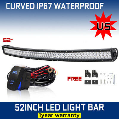 700W 52inch LED Light Bar Curved Flood Spot Combo Truck SUV Offroad Roof Driving