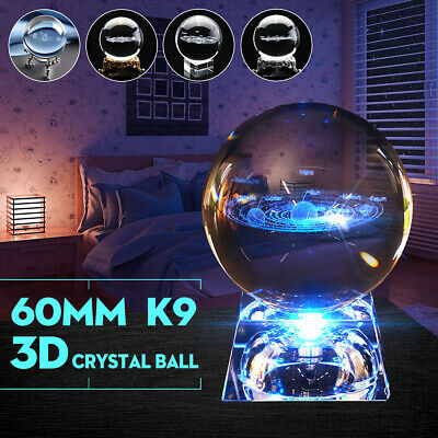 60mm 3D Clear Glass Engrave Solar System Crystal Ball + LED/Metal Base Gift UK