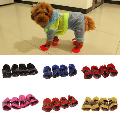 4Pcs Pet Dogs Winter Shoes Rain Snow Waterproof Booties Socks Rubber Anti-slip
