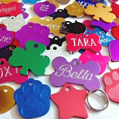 DOG & CAT Pet id Tags Animal Name Disc Personalised 7 Colors Blue DEEP ENGRAVING