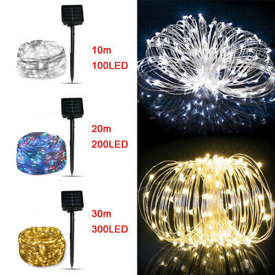 10M 20M Long LED Solar String Lights Waterproof Copper Wire Fairy Outdoor Garden