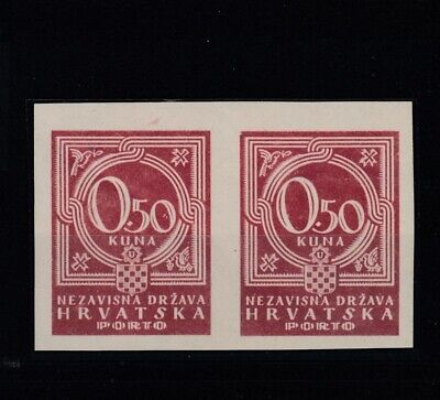 CROATIA (NDH): Postage Due 0.50 KUNA, Year 1941, Imperforated Pair, MNH