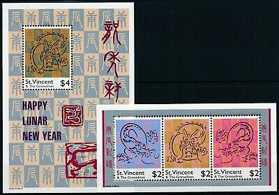 [H16228] St Vincent & Gren. 2000 DRAGON YEAR Good set of 2 sheets very fine MNH