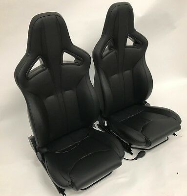 Land Rover Defender 90 or 110 Elite Sports Seats Black Leather Exmoor Trim PAIR