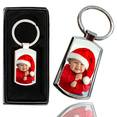 Personalised PHOTO BABY Printed Chrome Metal Keyring with Free Gift Box - 2
