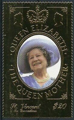 [H16757] St Vincent Gren. 1999 QUEEN MOTHER - Royalty Good GOLD stamp very fine