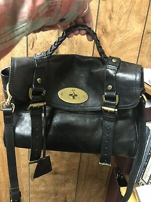 Authentic Mulberry Alexa Black Leather Medium Messenger Handbag BEAUTIFUL! 1dc535a43e0a6