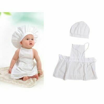 Cute Baby Cook Costume Photography Prop Newborn Infant Hat Apron Chef Clothes
