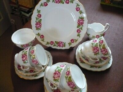 Vintage Royal Vale Pink Rose Bone China Tea Set