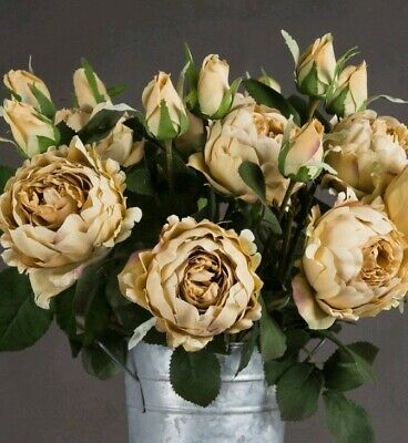 5 PEONY FLOWERS pale gold yellow artificial fabric floral stems bouquet display