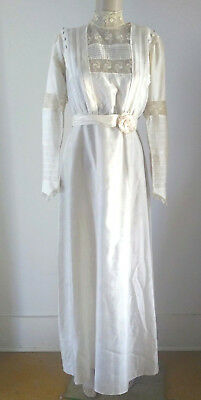 Antique 1909 Edwardian Ivory Silk Lace Wedding Gown Provenance ~ Downton Abbey