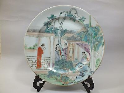 A Fine 19Thc Chinese Porcelain Plate  Painted With Figures  In A Garden