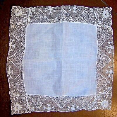 Pretty Vintage Linen & Point De Champ Embroidered Tulle Lace Bridal Hankie