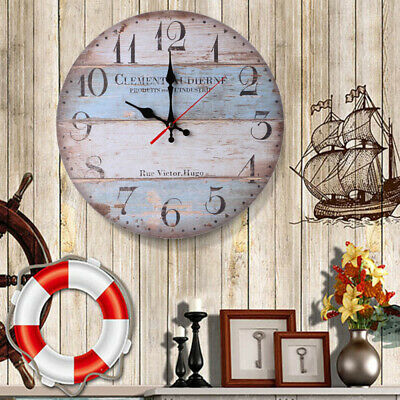 Large Vintage Rustic Wall Clock Kitchen Antique Shabby Chic Retro Home