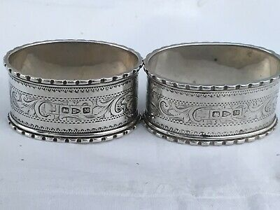 Pair of Oval Victorian Solid Silver Napkin Rings, 1895