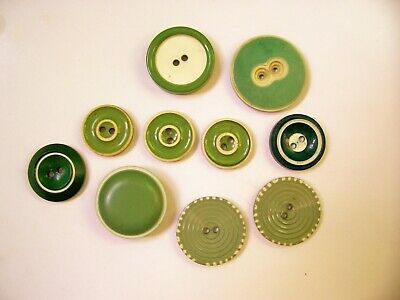 A mixed lot of 10 vintage 40's/50's green and white two-tone buttons