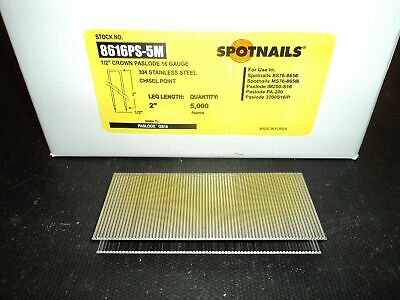 "Spotnails 8616ps 1/2"" Crown 16 Gauge Staples 2"" STAINLESS GS16 Dewalt (5,000)..."