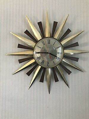 Vintage Large Metamec Sunburst Clock - New Movement