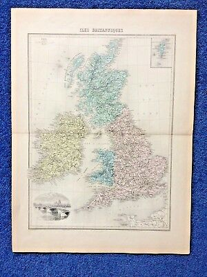 19th Century map engraving of Great Britain , L Smith / du Moulin Vert