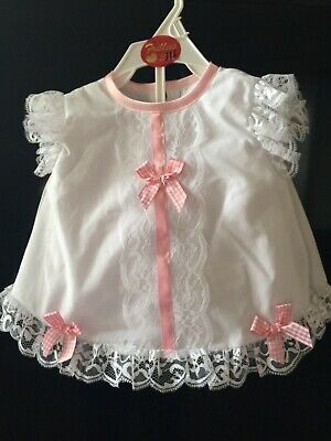 Baby Girls Spanish Style Pink White Frilly Lace Dress And Pants Set With Bows