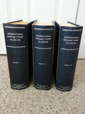 Scott International Postage Stamp Albums I, II, III w/ Pages & Stamps