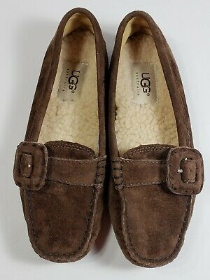 0507775688c UGG COLLECTION LUNETTA Bow Flats Loafers Brown Chocolate Suede Us ...
