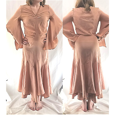20s Vintage Gatsby Style Pink Batwing Rayon Gown / Dress Dropped Waist, Display