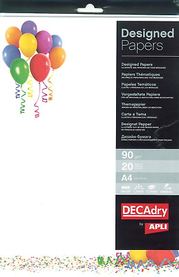APLI 012455 Illustrated Balloons A4 Sheets 90 g Pack of 20