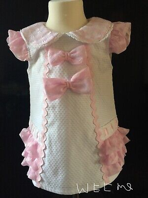 Baby Wee Me Spanish Pink/White Embroidered Frilly End Peter Pan Collar Dress ☘️☘