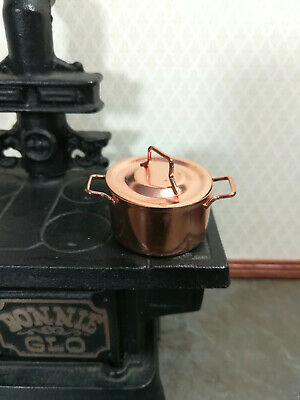 Dollhouse Miniature Extra Large Copper Stock Soup Pot with Lid 1:12 Scale