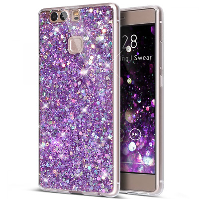 Huawei P9 Case,P9 Cover,ikasus Sparkly Shiny Glitter Bling Powder 3D Diamond Pai