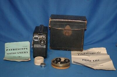 Pathescope Motocamera Clockwork Film Movie Camera 1927-38 instructions, lens box