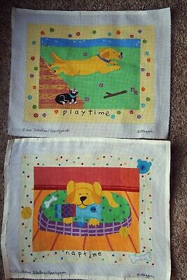 Lot of 2 Maggie NAPTIME & PLAYTIME Dog Labrador Handpainted Needlepoint Canvases