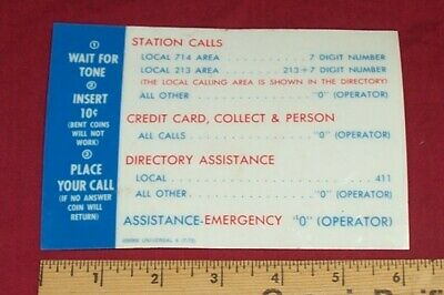 Old Payphone Billboard Sign Dialing Instruction Calling Display Vintage Coin 1