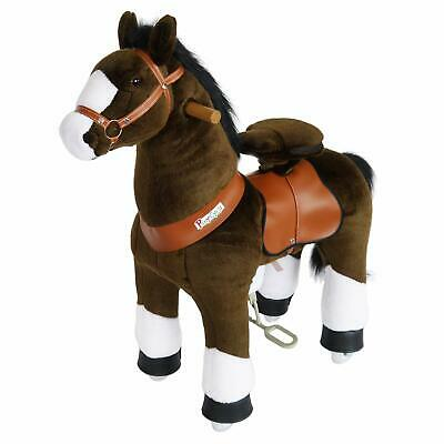 PonyCycle Ride On Toy Horse Chocolate Brown White Hoof Medium for Ages 4-9 Year