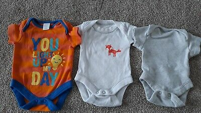 Cute Bundle Of 3 Baby Boys Vests Bodysuits Tiny Early Baby Newborn Rompers Prem