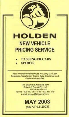 Holden VY Commodore Monaro Calais Prices Brochure