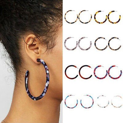 Women Acrylic Circle Hoop Earrings Geometric Leopard Print Jewelry Drop Ear BS