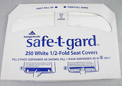 Georgia-Pacific Safe-T-Gard  1/2 Fold Toilet Seat Covers, White-QTY 3 Pk.