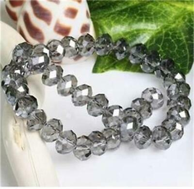 8mm Grey faceted  Crystal Gemstone Loose Bead 72PCS ##ZY1873