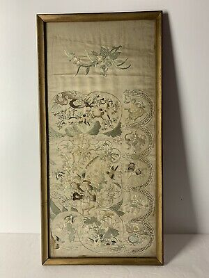 Antique 19th Century Chinese Floral Birds Figural Landscape Silk Emboidery Art