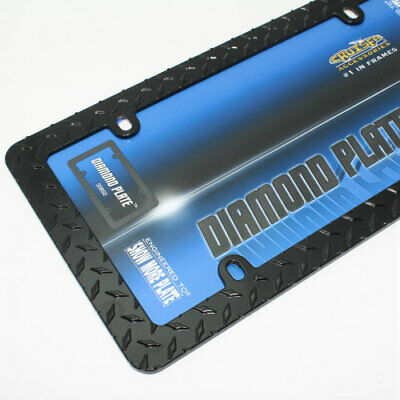 Matte Black Diamond Plate Metal License plate Tag Frame for Car-Truck-SUV