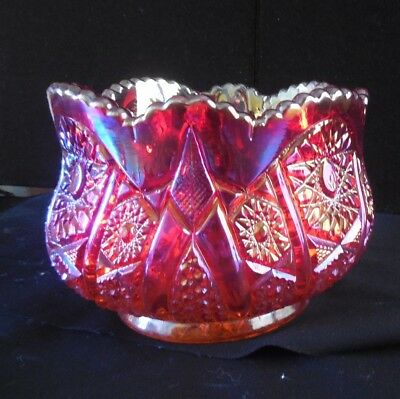 Indiana Red Carnival Glass Fluted Heirloom Bowl