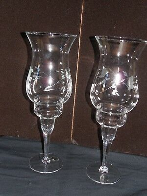 2 Princess House fine glass candelabra, 2 piece, hand blown and hand etched