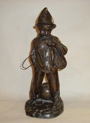 Large French Art Deco Cold Painted Spelter Boy Busker Pierrot Figure G Demange