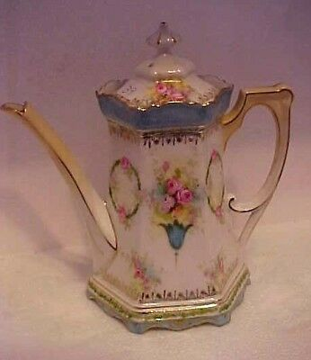 Gorgeous Antique Signed R.s.prussia Hand Painted Tea Pot W/ Pink Roses