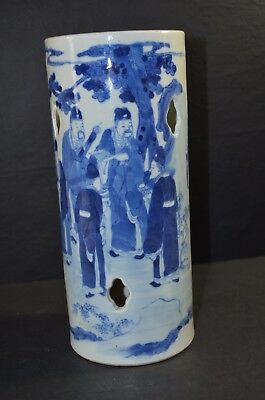 ANTIQUE Chinese 19TH CENTURY  White And Blue PORCELAIN VASE(竹林七賢)