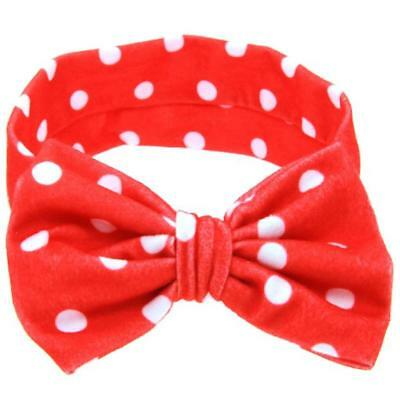 Newborn Kids Headband Cotton Elastic Baby Print Floral Hair Band Girls Bow Red