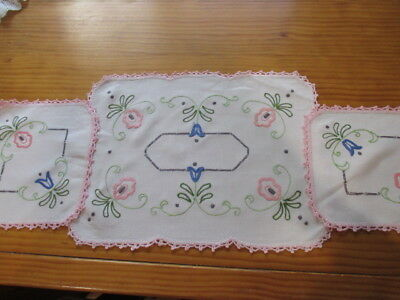Vintage Hand Embroidered 3 Piece Charming Beautiful Duchess Set. Pink and Pretty