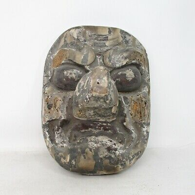 D558: VERY OLD Japanese wood carving mask of long‐nosed goblin TENGU